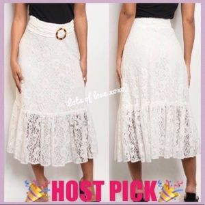 WHITE LINED LACE DETAILED MIDI SKIRT